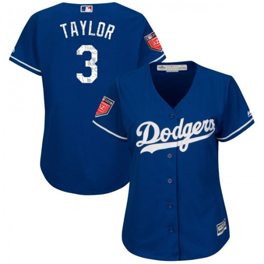 Women's Majestic Chris Taylor Los Angeles Dodgers Player Replica Royal Cool Base 2018 Spring Training Jersey