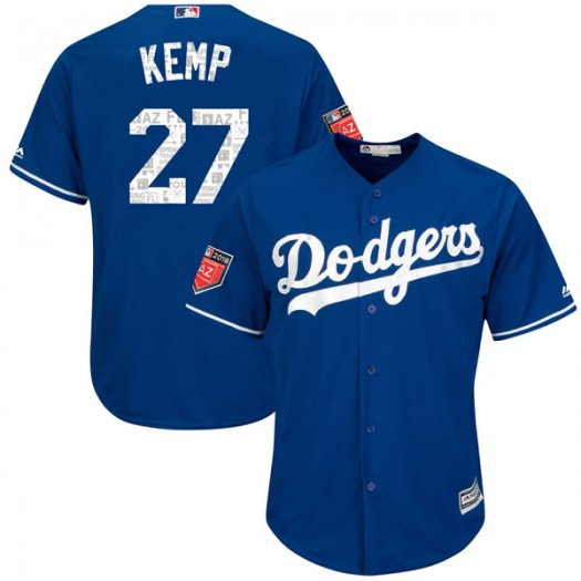Youth Majestic Matt Kemp Los Angeles Dodgers Player Replica Royal Cool Base 2018 Spring Training Jersey