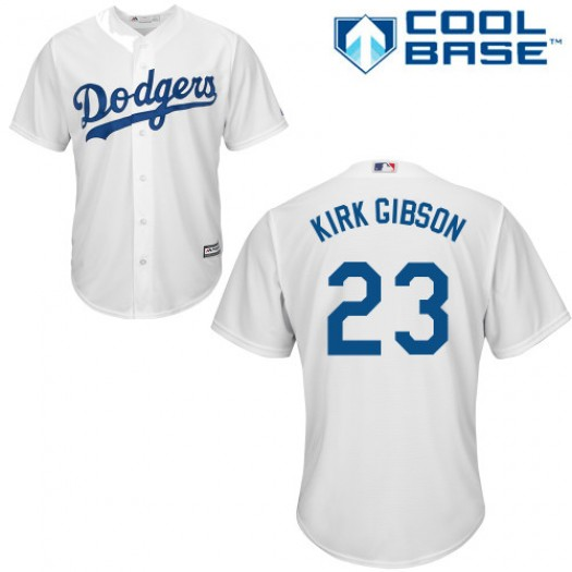 Men's Majestic Kirk Gibson Los Angeles Dodgers Player Replica White Home Cool Base Jersey